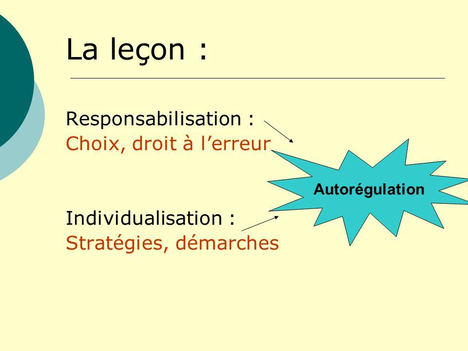 La leçon : Responsabilisation : Choix, droit à l'erreur