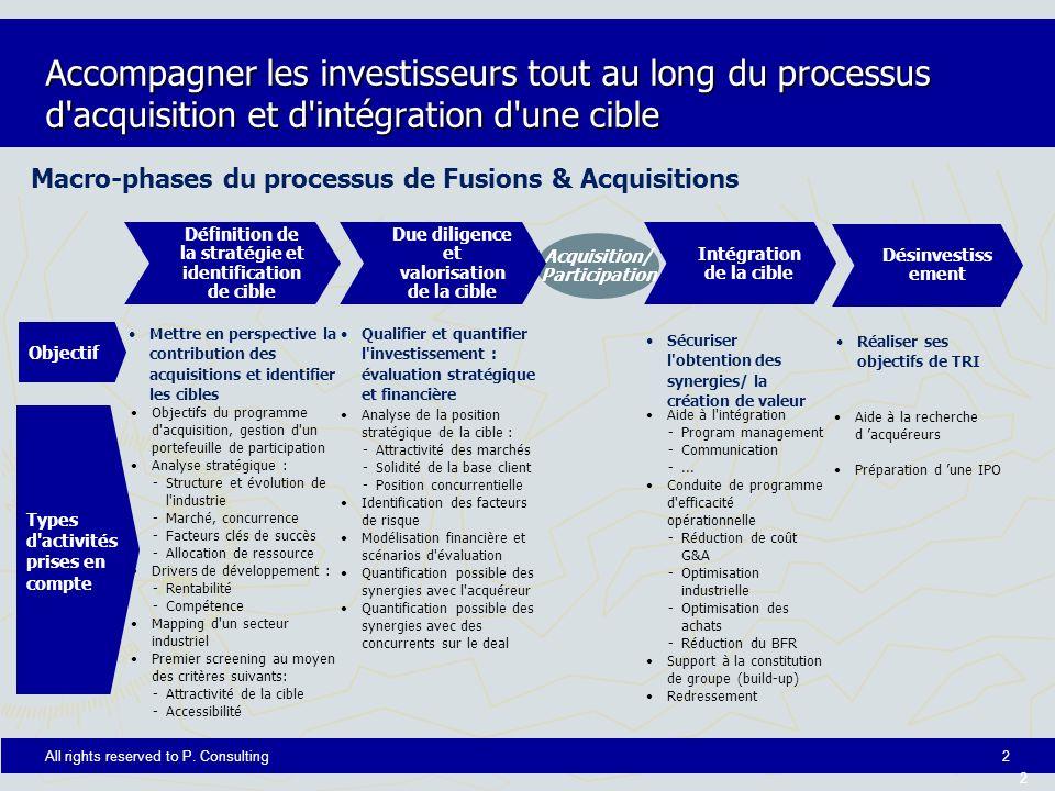 Accompagner les investisseurs tout au long du processus d acquisition et d intégration d une cible