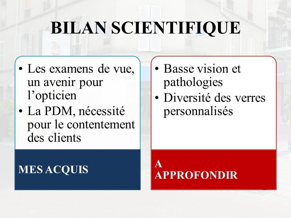 BILAN SCIENTIFIQUE Les examens de vue, un avenir pour l'opticien