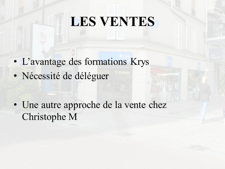 LES VENTES L'avantage des formations Krys Nécessité de déléguer