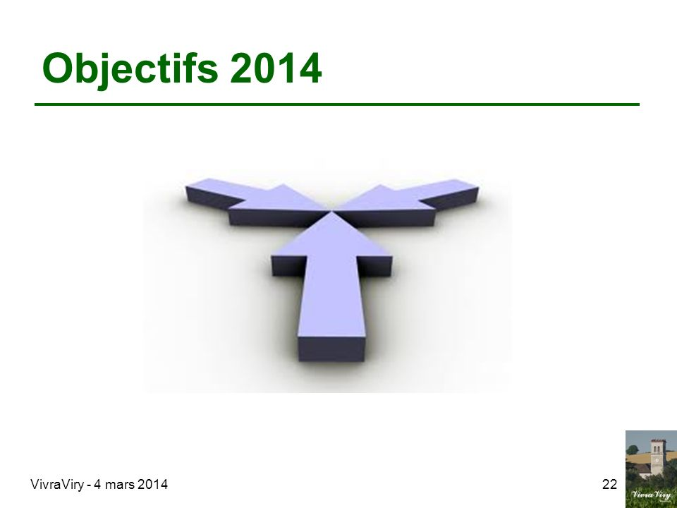 Objectifs 2014 VivraViry - 4 mars 2014 22