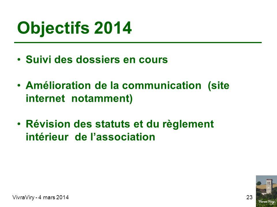 Objectifs 2014 Suivi des dossiers en cours