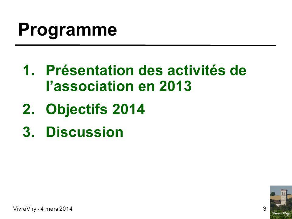 Programme Présentation des activités de l'association en 2013