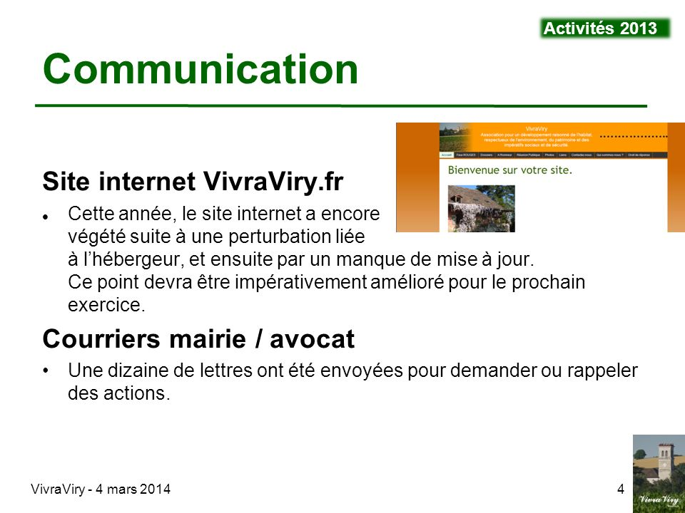 Communication Site internet VivraViry.fr Courriers mairie / avocat