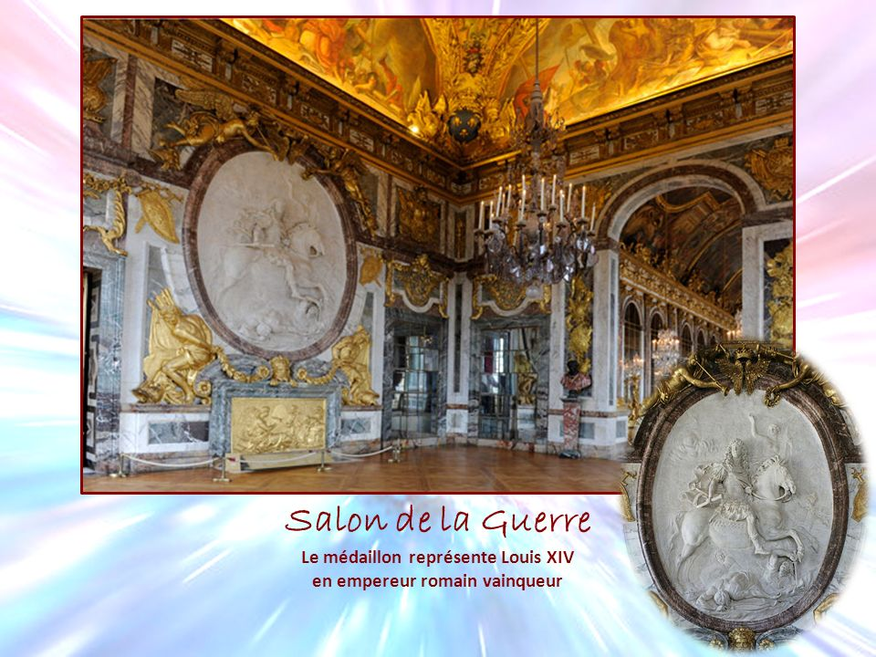 Le médaillon représente Louis XIV en empereur romain vainqueur