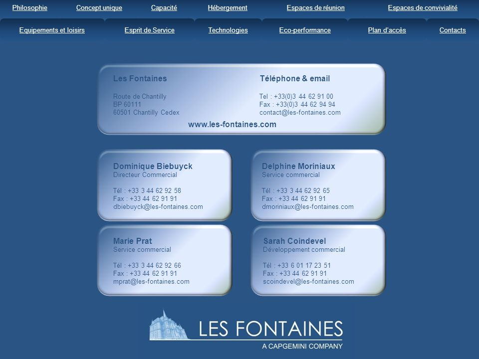 Les Fontaines Téléphone & email www.les-fontaines.com