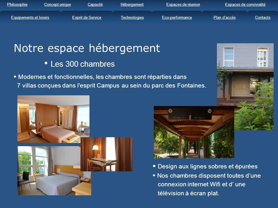Notre espace hébergement Les 300 chambres