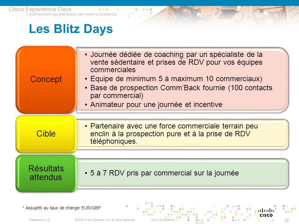 Les Blitz Days Résultats attendus Concept Cible