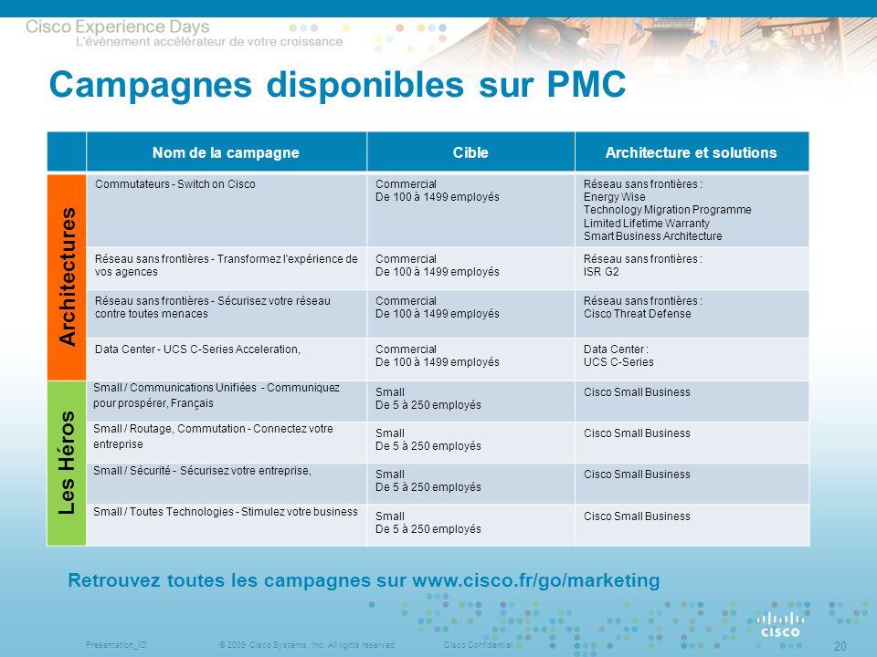 Campagnes disponibles sur PMC
