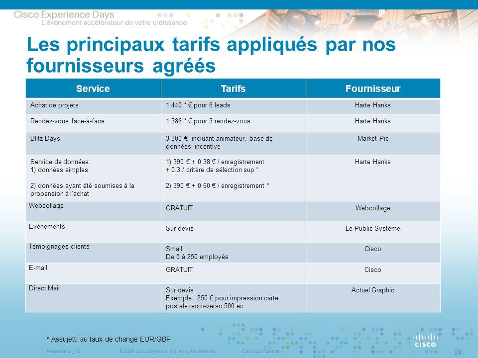Les principaux tarifs appliqués par nos fournisseurs agréés