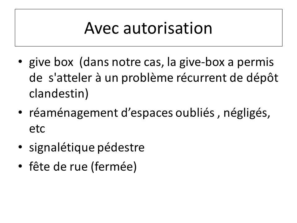 Avec autorisation give box (dans notre cas, la give-box a permis de s atteler à un problème récurrent de dépôt clandestin)