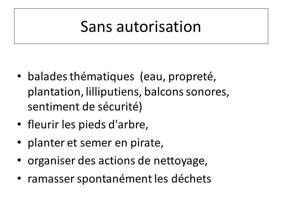 Sans autorisation balades thématiques (eau, propreté, plantation, lilliputiens, balcons sonores, sentiment de sécurité)