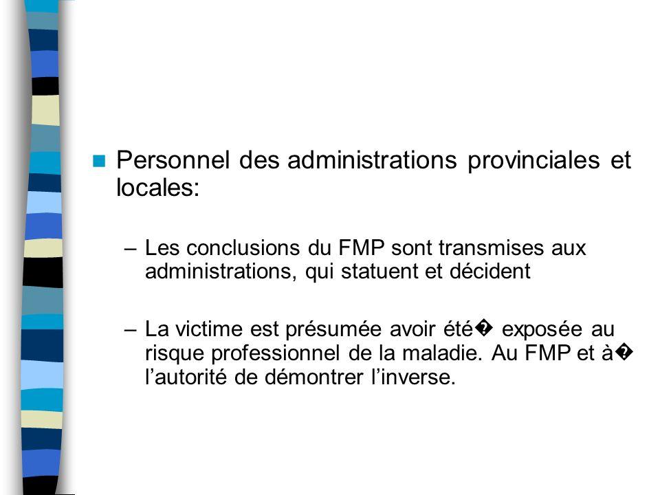 Personnel des administrations provinciales et locales: