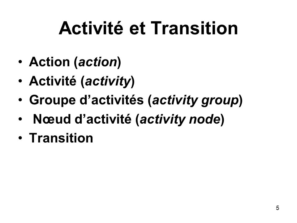 Activité et Transition
