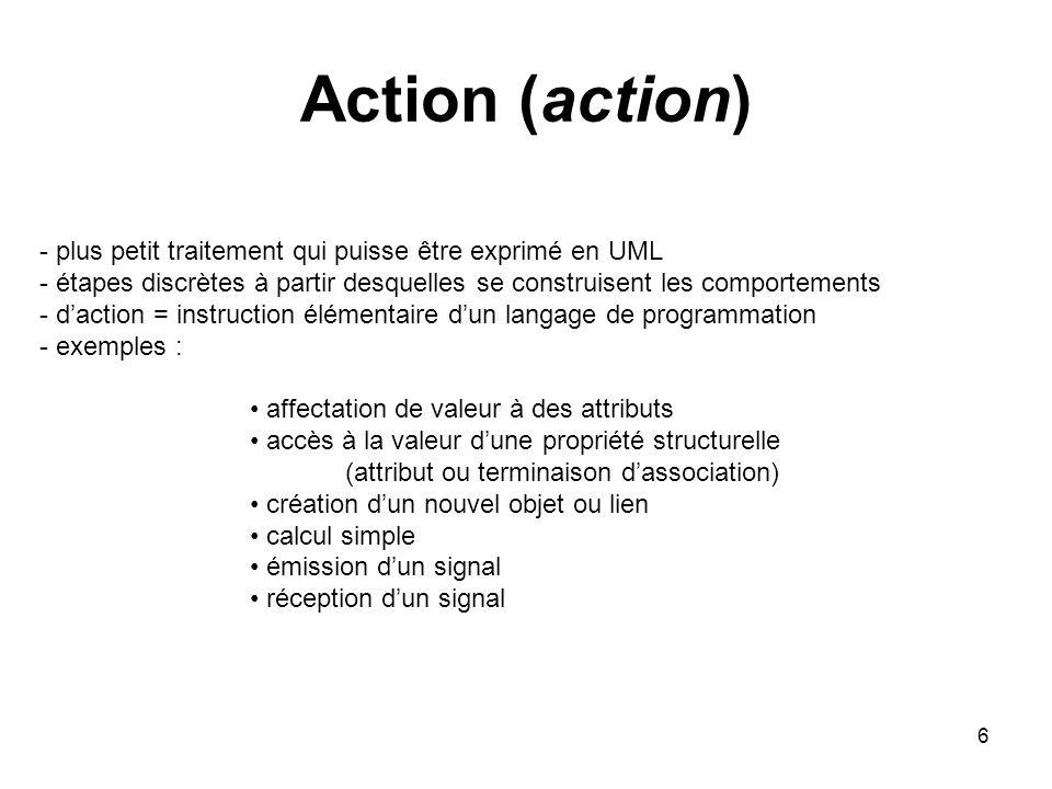 Action (action) plus petit traitement qui puisse être exprimé en UML