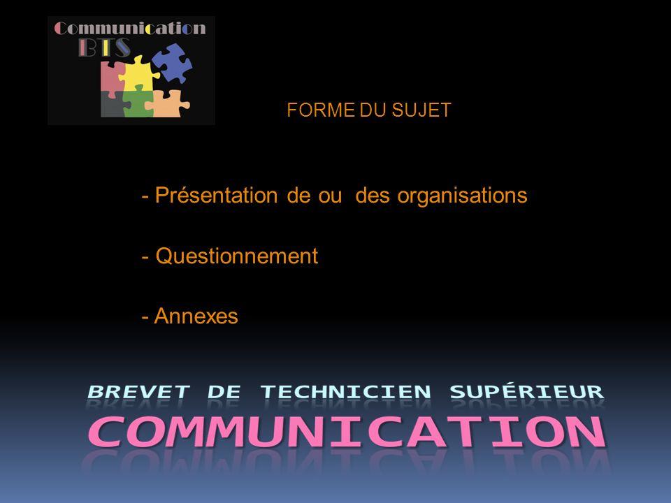 - Présentation de ou des organisations Questionnement Annexes