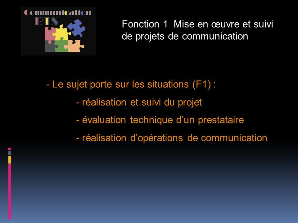 Fonction 1 Mise en œuvre et suivi de projets de communication