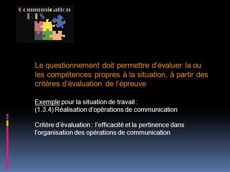 Le questionnement doit permettre d'évaluer la ou les compétences propres à la situation, à partir des critères d'évaluation de l'épreuve