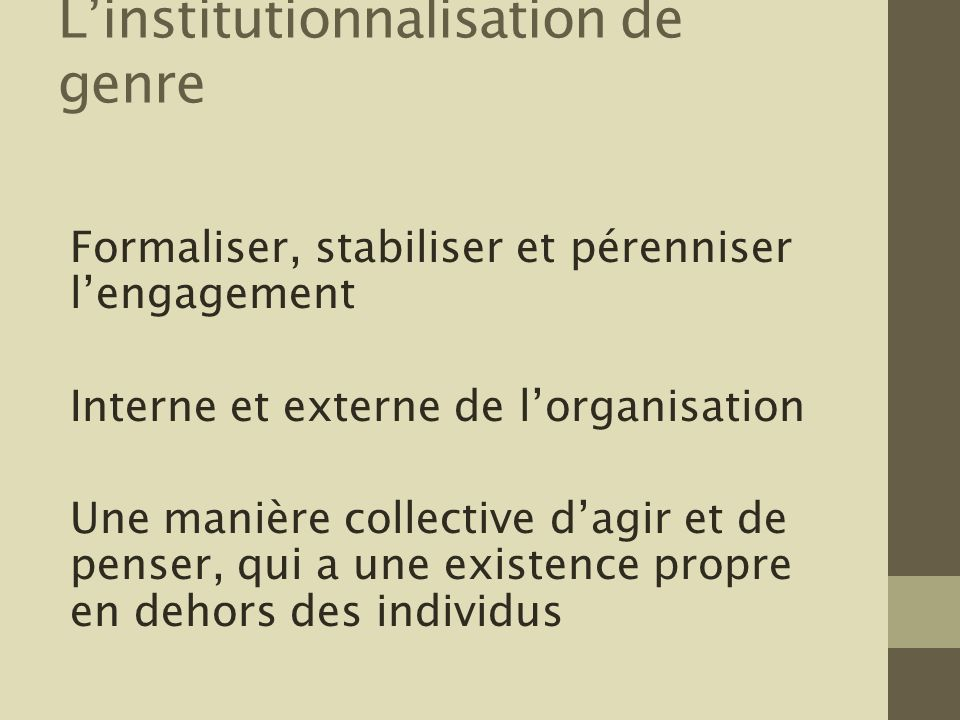 L'institutionnalisation de genre