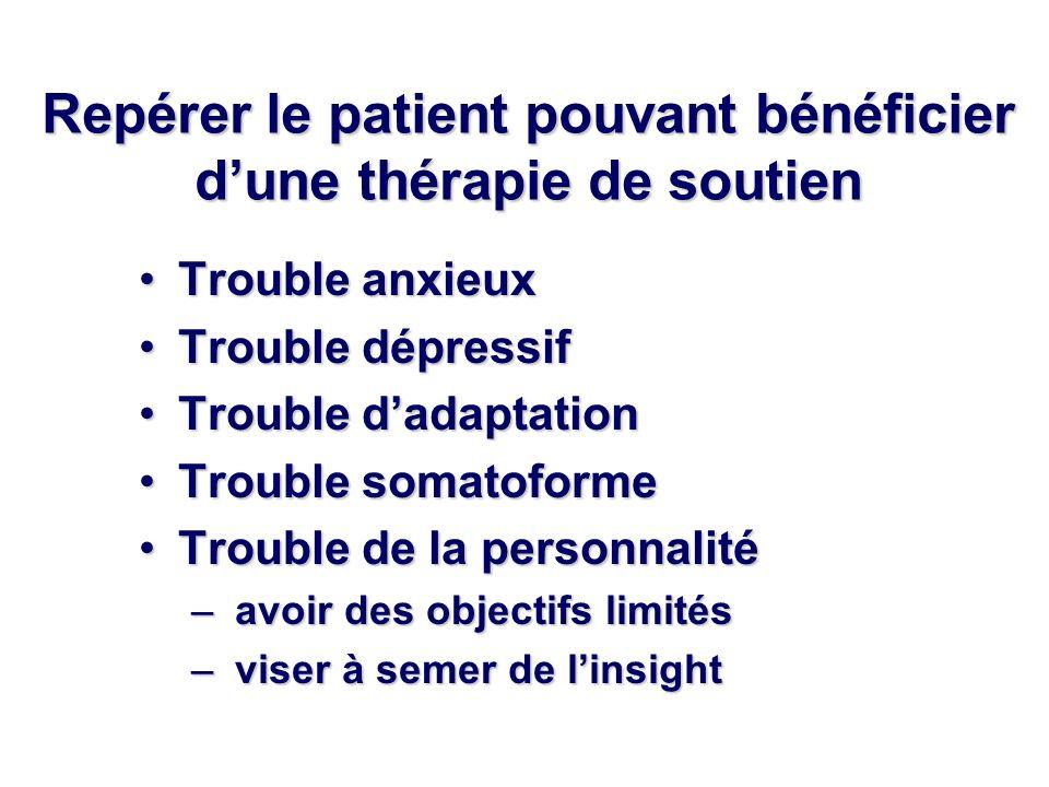 Repérer le patient pouvant bénéficier d'une thérapie de soutien