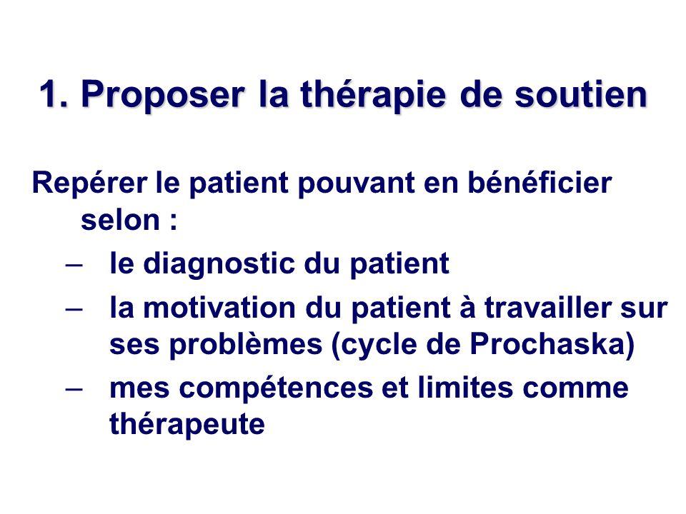 1. Proposer la thérapie de soutien
