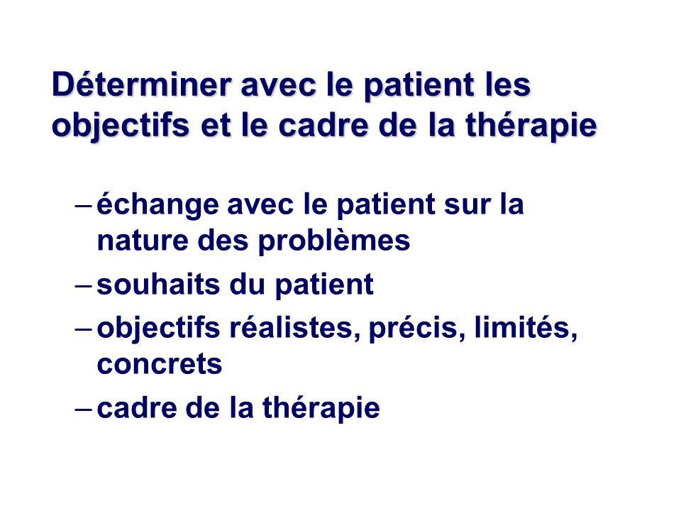 Déterminer avec le patient les objectifs et le cadre de la thérapie