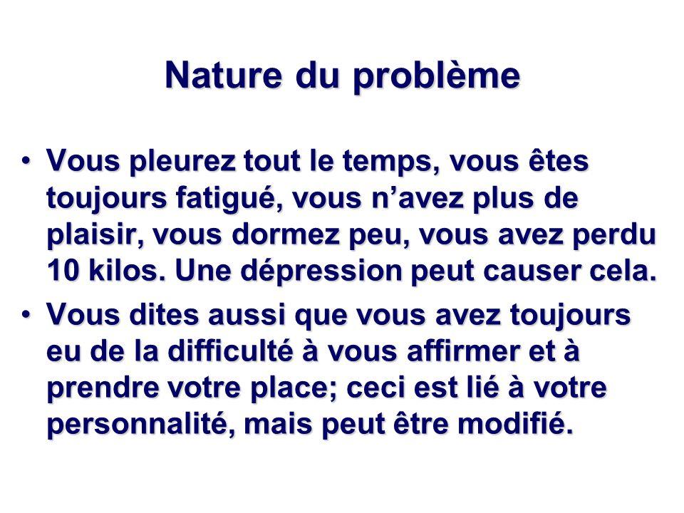 Nature du problème