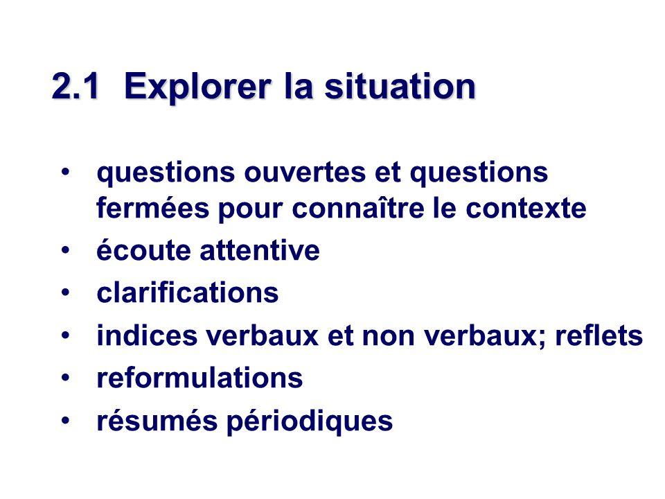 2.1 Explorer la situation questions ouvertes et questions fermées pour connaître le contexte. écoute attentive.
