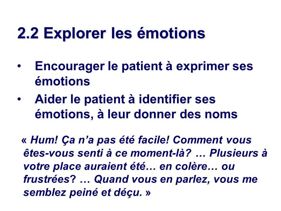 2.2 Explorer les émotions Encourager le patient à exprimer ses émotions. Aider le patient à identifier ses émotions, à leur donner des noms.