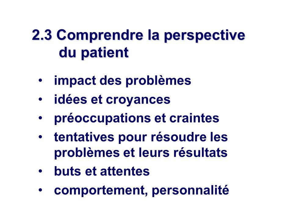 2.3 Comprendre la perspective du patient