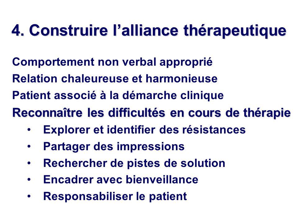 4. Construire l'alliance thérapeutique