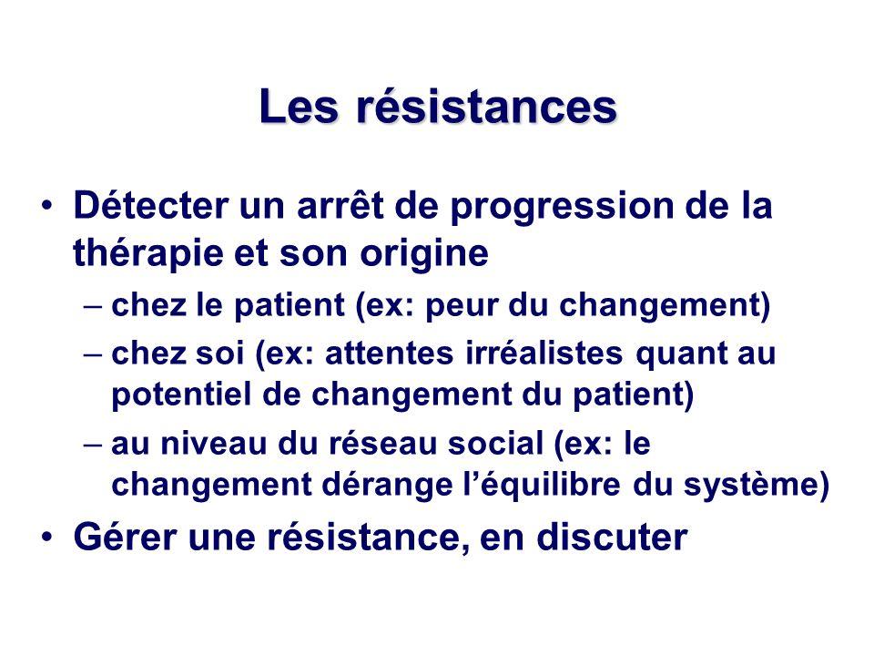 Les résistances Détecter un arrêt de progression de la thérapie et son origine. chez le patient (ex: peur du changement)