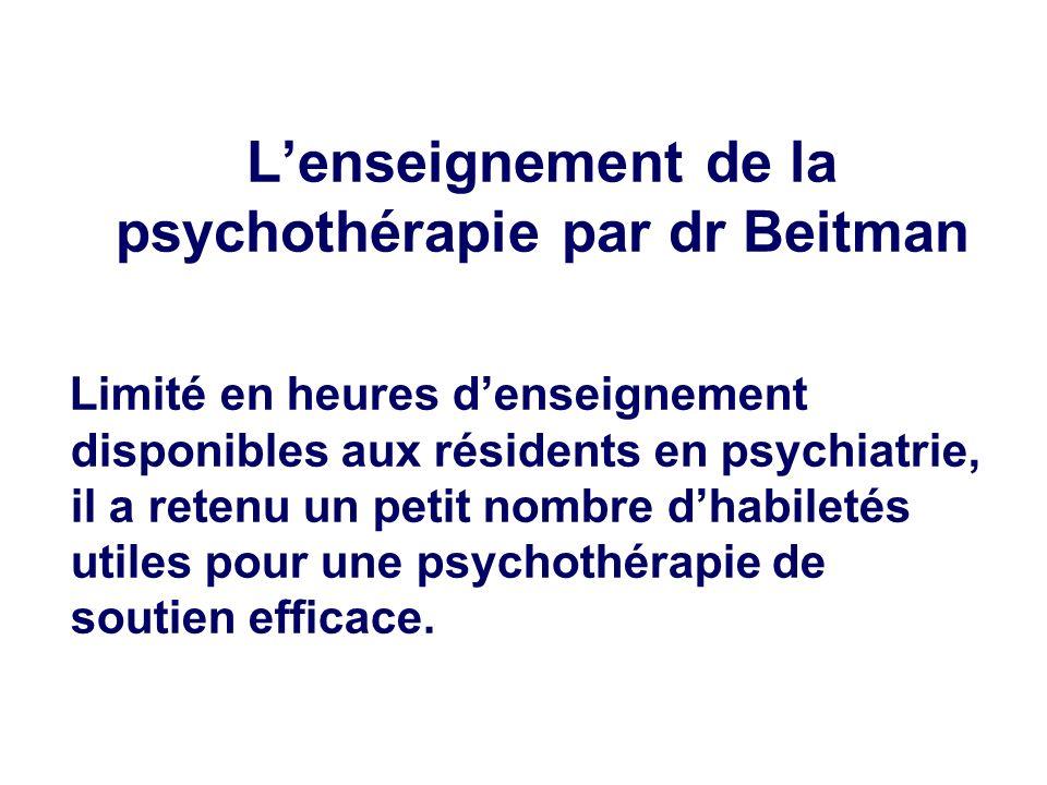 L'enseignement de la psychothérapie par dr Beitman