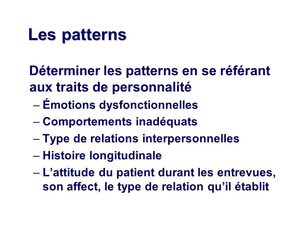 Les patterns Déterminer les patterns en se référant aux traits de personnalité. Émotions dysfonctionnelles.