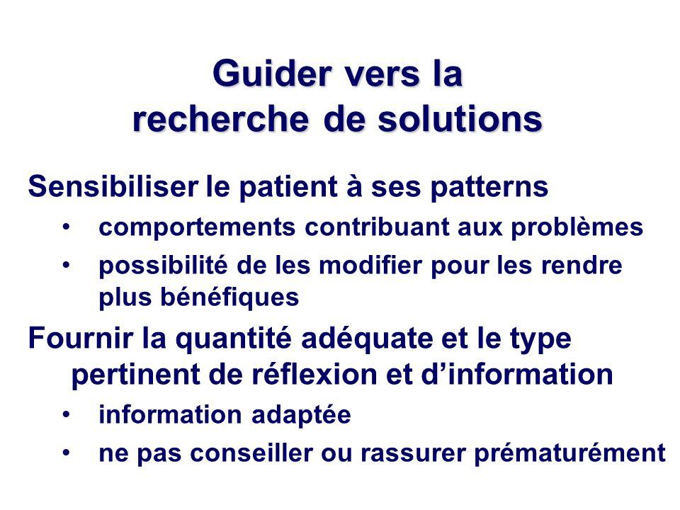 Guider vers la recherche de solutions