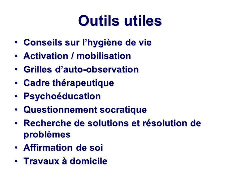 Outils utiles Conseils sur l'hygiène de vie Activation / mobilisation