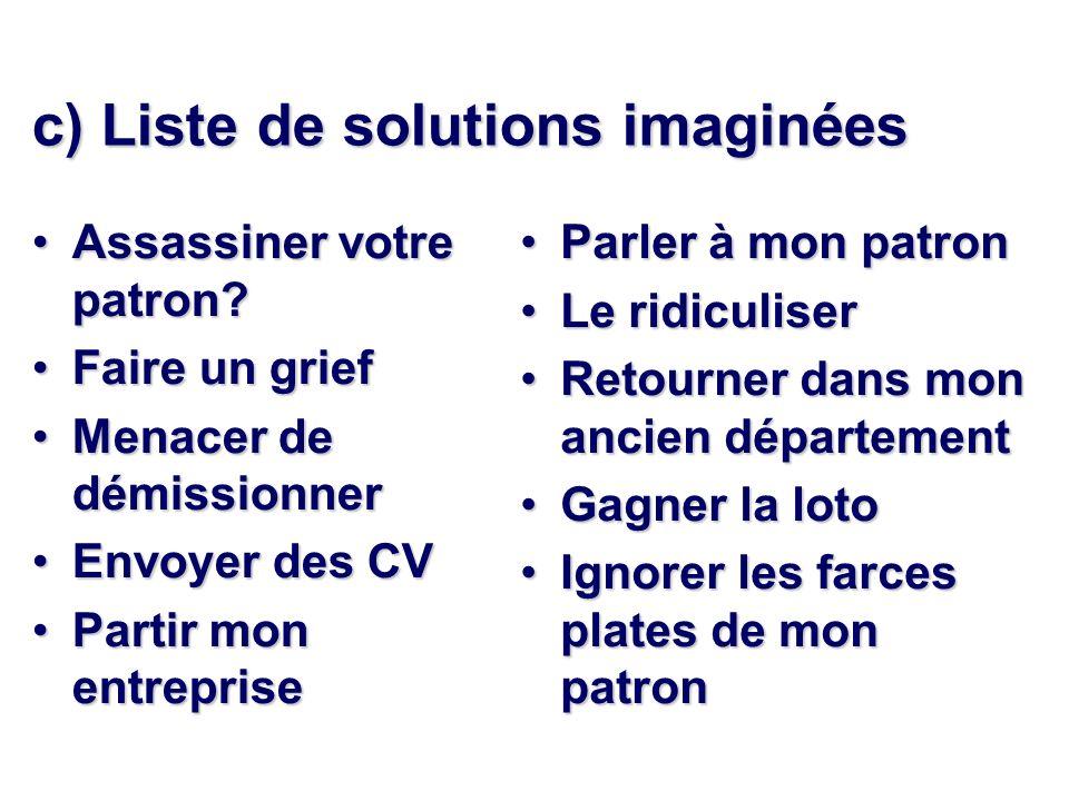 c) Liste de solutions imaginées
