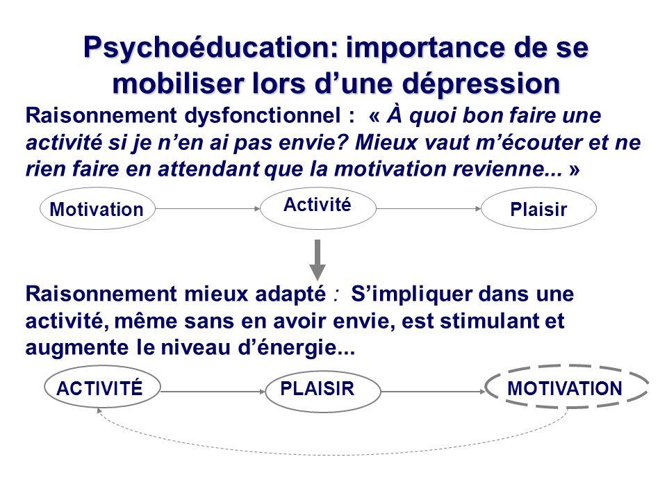 Psychoéducation: importance de se mobiliser lors d'une dépression