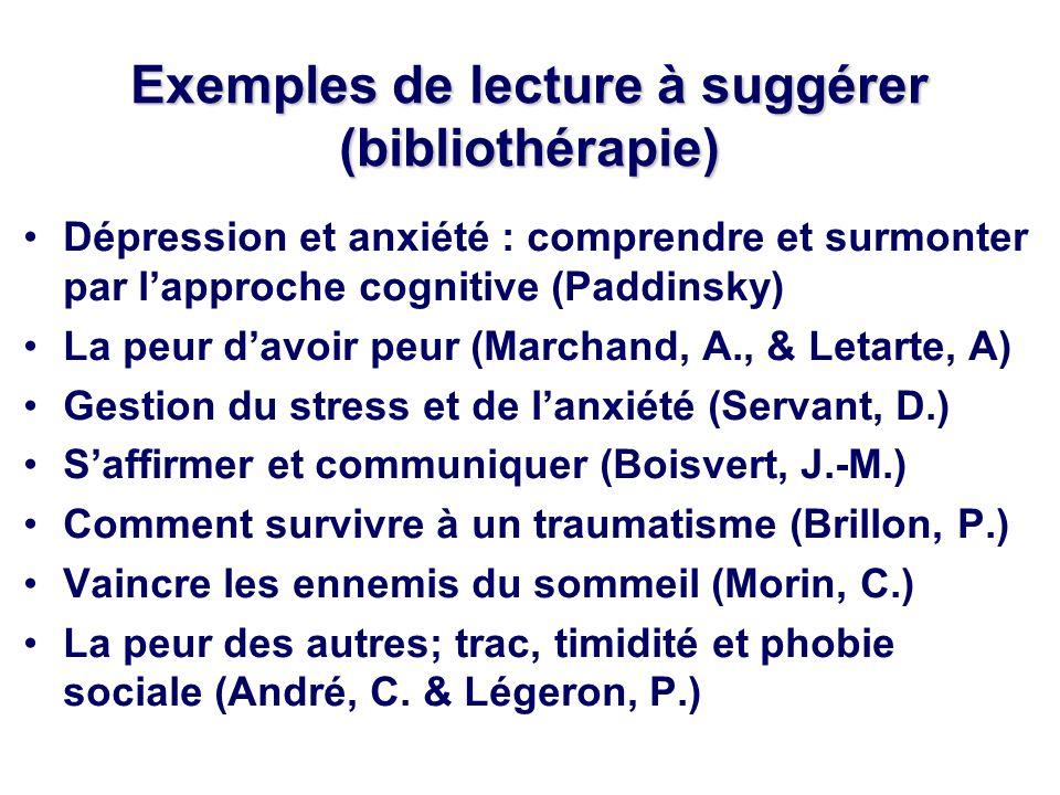 Exemples de lecture à suggérer (bibliothérapie)