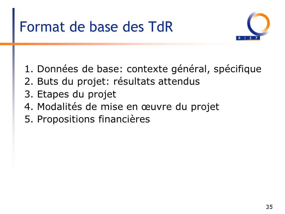 Format de base des TdR 1. Données de base: contexte général, spécifique. 2. Buts du projet: résultats attendus.