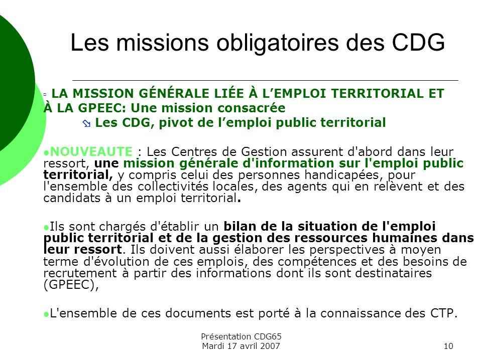 Les missions obligatoires des CDG