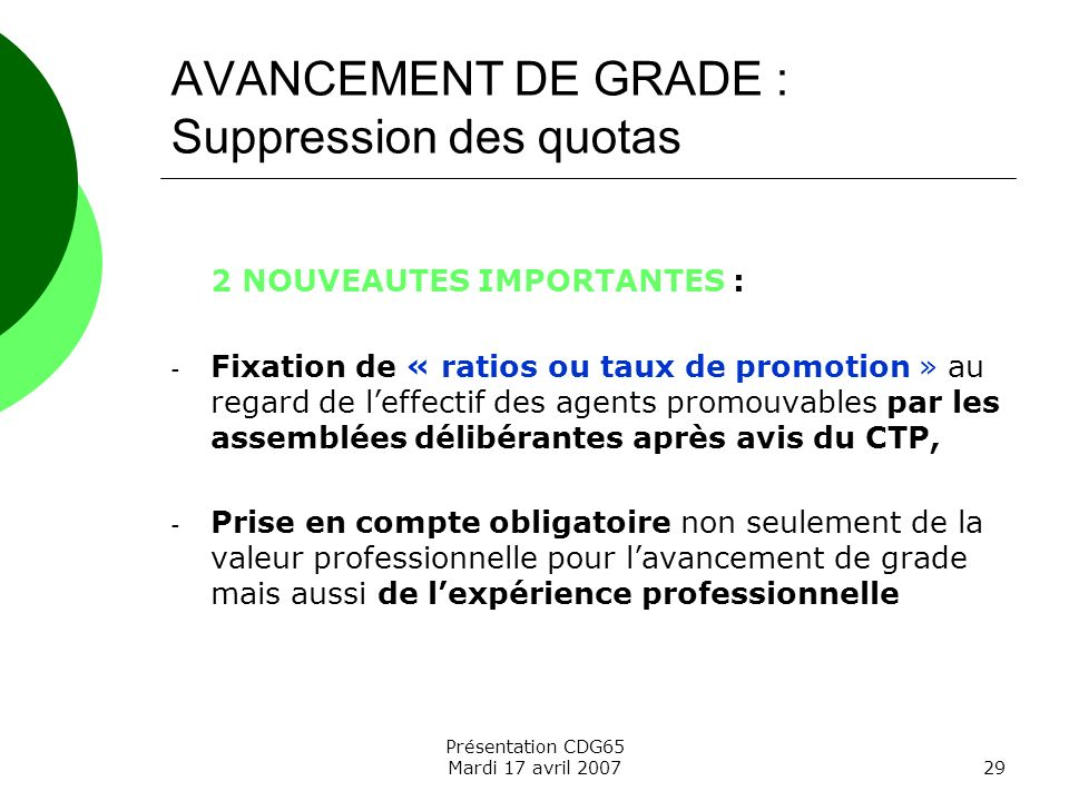 AVANCEMENT DE GRADE : Suppression des quotas