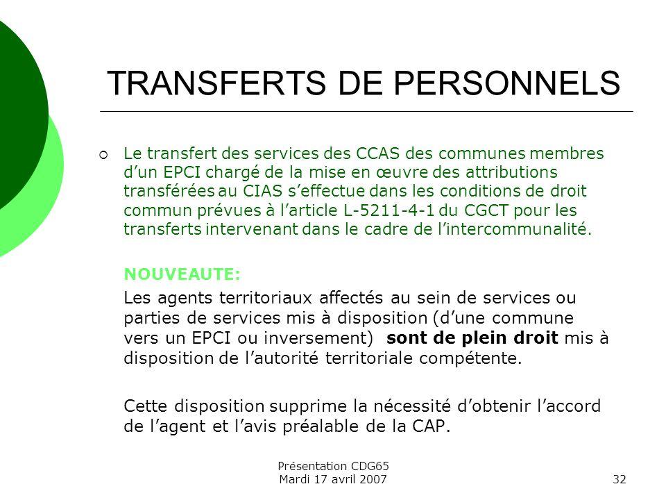 TRANSFERTS DE PERSONNELS