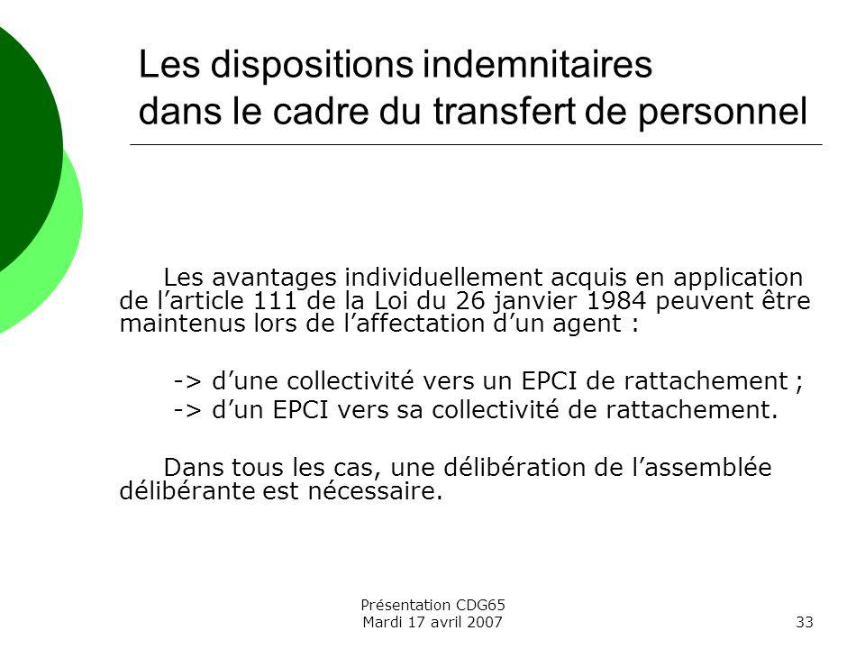 Les dispositions indemnitaires dans le cadre du transfert de personnel
