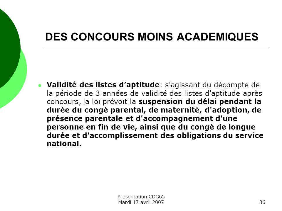 DES CONCOURS MOINS ACADEMIQUES