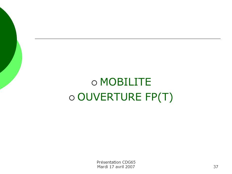 MOBILITE OUVERTURE FP(T) Présentation CDG65 Mardi 17 avril 2007