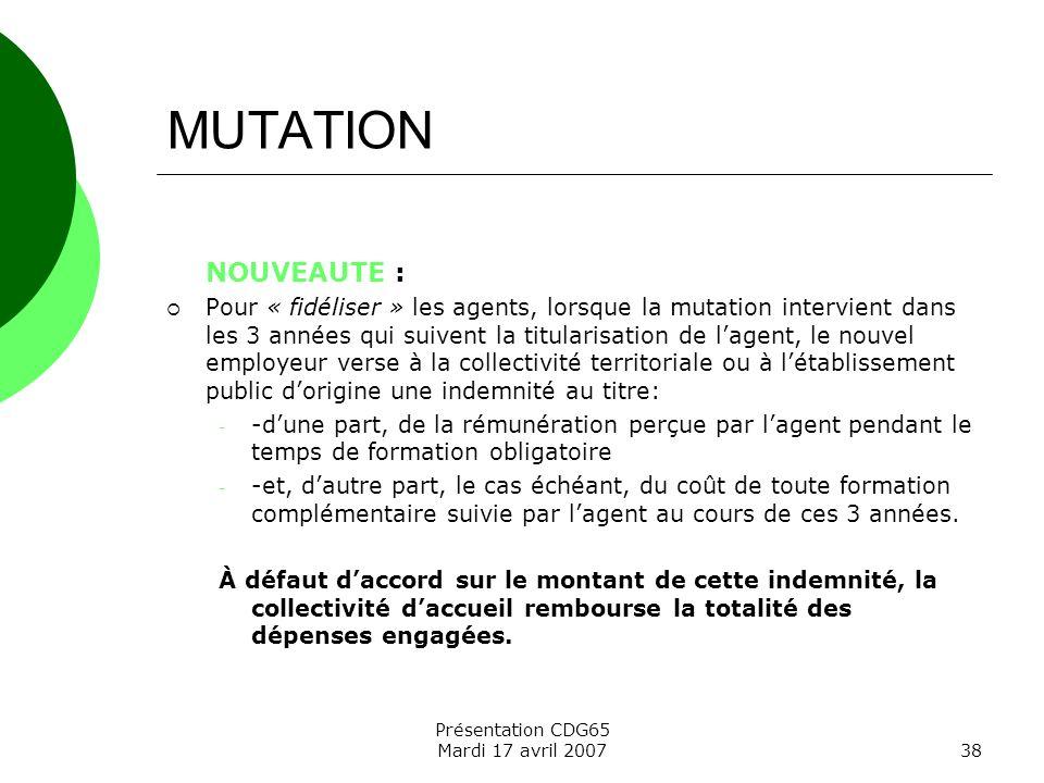MUTATION NOUVEAUTE :