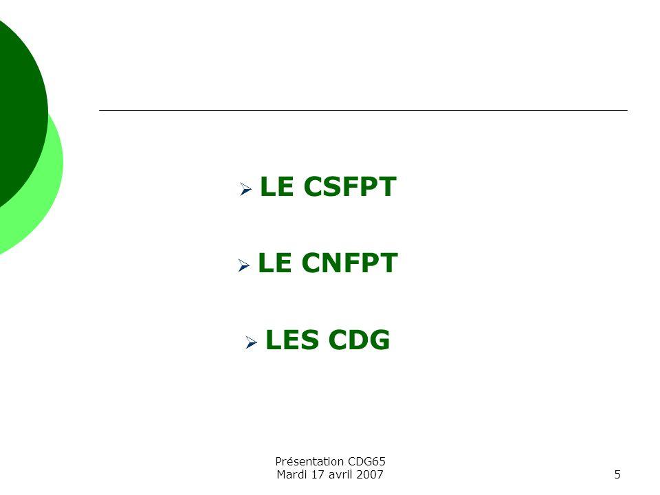 LE CSFPT LE CNFPT LES CDG