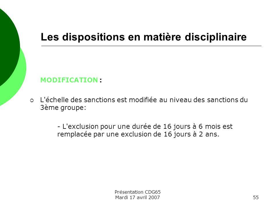 Les dispositions en matière disciplinaire