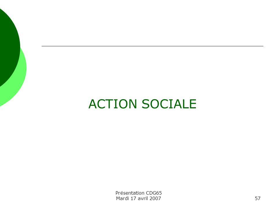 ACTION SOCIALE Présentation CDG65 Mardi 17 avril 2007